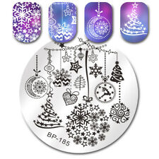 BORN PRETTY Round Nail Art Stamping Plate Christmas Tree Snowflake Bell Tips DIY