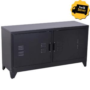 Black Metal Sideboard Cabinet Industrial TV Stand Buffet Home Office Cupboard