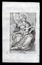 santino incisione 1600 MADONNA DELLA VITTORIA di PALERMO