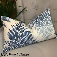 "Cushion Cover 12""x20"" Designer Fabric Sanderson & Blue & White Decor"