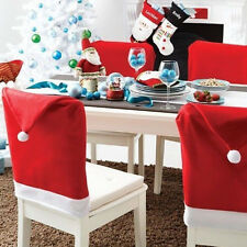6pcs/set Xmas Christmas Chair Covers Santa Claus Red Hat Dinner Supply Decor