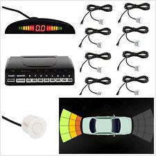 White Shell 8 Parking Sensors Car SUV Reverse Backup Alerting System LED Display