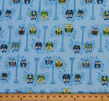 Cotton Sitting Pretty Owls Trees Cotton Fabric Print by the Yard D480.02