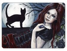 ACEO LE PRINTS Gothic Moon Witch Woman Black Cat Silhouette Corset Roses Night