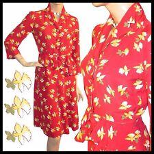 Vintage 40s WWII Rayon NOVELTY Print PEPLUM Top Skirt M