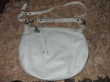 Coach white textured heavy leather hobo boho soho shoulder bag book shop bag