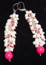 glass pearl red jade red glass earrings in silvertone leverback TGW 54.43 ct j18