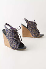 NIB Anthropologie DUE FARINA Sketched Giraffiti Lace Up Sandals Wedge Heels 8
