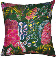 """16"""" DARK GREEN CUSHION PILLOW COVER KANTHA EMBROIDERED THROW INDIAN FLORAL DECOR"""