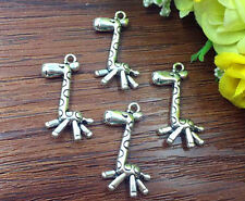 4pcs  giraffe Tibetan Silver Bead charms Pendants DIY jewelry 30x15mm J120