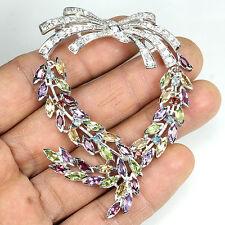 SILVER925 Enorme Autentico naturale Misto Gemstone SWAG Design SPILLA