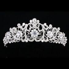 Bridal Pageant Rhinestone Crystal Prom Wedding Floral Crown Tiara 6856