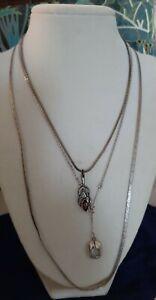 3 sterling silver garnet topaz serpentine chain Celtic pendant 19 grams