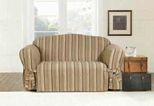 Sofa Sure fit Loveseat size slipcover harbor stripe brown / tan washable