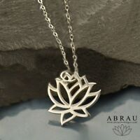 Minimalist Lotus Flower Pendant Necklace Yoga Gift Sterling Silver .925 or Gold