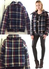 Shopbop SAUCE Puffer Coat blue plaid jacket retail $194 XS