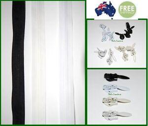 Invisible continuous zip slider black beige white off white zipper meter no 3
