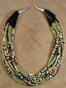 Santo Domingo 10 Strand Rolled Serpentine Pipestone Turquoise Shell Jet Necklace