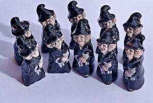 Peruvian Ceramic Gray Witch Holding Cat Beads Lot of 10 Halloween Bulk DIY Charm