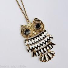 Long vintage antique golden owl chain big fashion jewelry pendant necklace