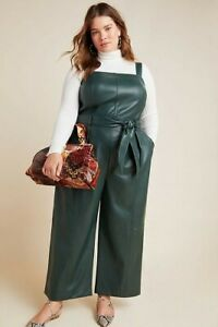 NEW Anthropologie $170 Samira Faux Leather Jumpsuit Plus Size 20