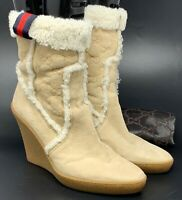 Authentic GUCCI GG Logo Sherry Line Short Boots #7C US 7 Suede Boa Beige