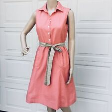 Brooks Brothers SZ 2 Belted Sleeveless Shirt Dress Coral Red Cotton A-Line