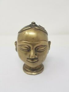 Vintage Old Hand Crafted Brass Gauri Head Lady Face Decorative NH6559