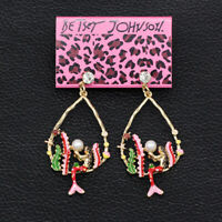 Betsey Johnson Enamel Crystal Pearl Seaweed Mermaid Earbob Dangle Earrings Gift