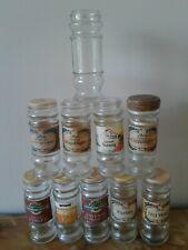 Vintage Schwartz Glass Spice Jars EMPTY NO LIDS x 10 Crafts Storage