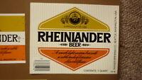 OLD USA AMERICAN BEER LABEL, SICKS RAINIER BREWING SEATTLE, RHEINLANDER 1 QUART