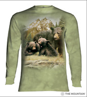 The Mountain 100% Cotton Adult Long Sleeve T-Shirt Black Bear Family M-L-2X NWT