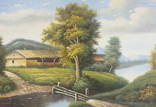 Dipinto Olio su Tela - 60x90 cm - Paesaggio di Campagna - Quadro Casa Fiume