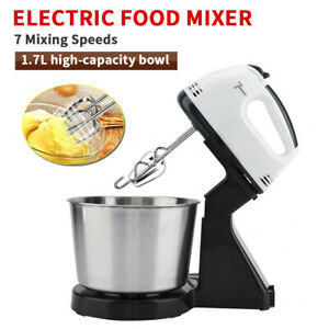 Electric Hand Mixer 7 Speed Stand Mixers Fit Flour Cream With Bowl 2 Dough Hooks