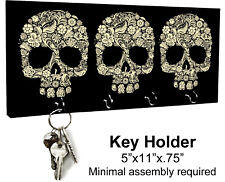 KEY HANGER HOLDER RACK - SUGAR SKULL #1 Dia de los Muertos Halloween Horror