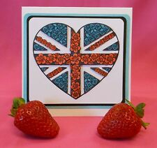 Union Jack Heart Unmounted Rubber Stamp 7130