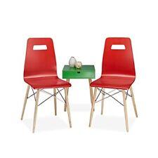 Relaxdays Arvid Set 2 sedie per Sala da pranzo legno Rosso 40x43x92 cm