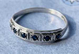 Antique silver and sapphires ring UK size R fully hallmarked