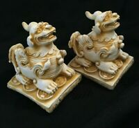 Chinese Chalk Ware Dogs of Foo Temple Dogs Pair