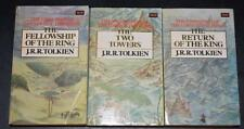 JRR Tolkien Lord of the Rings UNWIN Paperbacks 1981-2 Three VOL SET