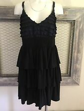 Torrid Black Tiered Dress 1 XL 14 16 Blue Ruffled Mini Sleeveless Princess Tea