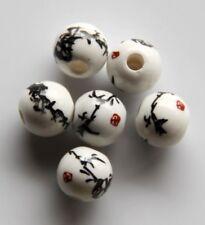 30pcs 10mm Round Porcelain/Ceramic Beads - White / Black Briar