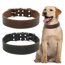 Genuine Leather Pet Dog Collars For Medium Large Dogs Labrador Bulldog Black S-L