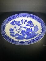 "Vintage Blue Willow Oval Serving Platter 12 3/4"" x 9 1/8"" Japan Cobalt Blue"