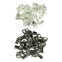 24 Sets Cord End Crimp Caps Jewelry Necklace Bracelet with Lobster Clasp