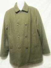 CALVIN KLEIN JEANS Womens Pea Coat,L/Large,Gray-Green,Wool Blend,Double Breasted