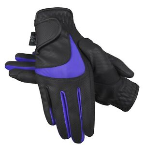 Horse Riding Equestrian Gloves Synthetic Leather Ladies breathable Gloves Purple