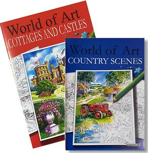 Adult Colouring Books World of Art Country Scenes Cottages Castles A4 SET OF 2