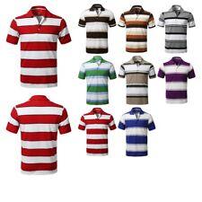 FashionOutfit Men Basic Casual Short Sleeves Stripe 3 Button Placket Polo Shirt