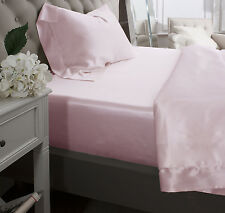 Jasmine Silk Pure Silk Fitted Sheet (Pink)-KING